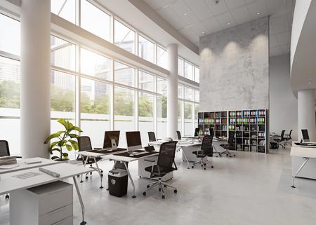 Foto de modern office building interior. 3d rendering concept - Imagen libre de derechos