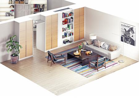 Photo pour modern rooms isometric view. 3D rendering - image libre de droit
