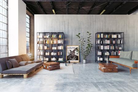Photo pour modern loft lving room. 3d rendering design concept - image libre de droit