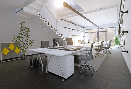 Photo for Modern office interior. 3D rendering concept - Royalty Free Image