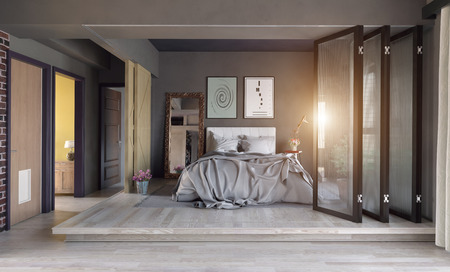 Foto de Modern bedroom interior zone partition concept. 3d rendering - Imagen libre de derechos