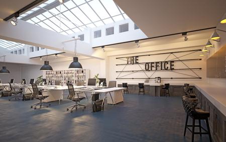 Foto de modern loft area office interior. 3d rendering design concept - Imagen libre de derechos