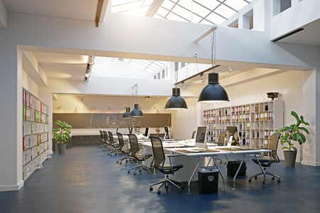 Foto per modern loft area office interior. 3d rendering design concept - Immagine Royalty Free