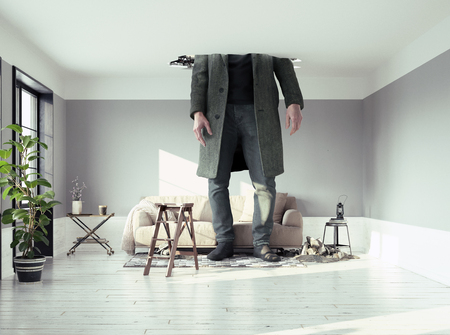 Foto per the man figure, breaking the ceiling in the living room. Photo and media elements conbinated - Immagine Royalty Free