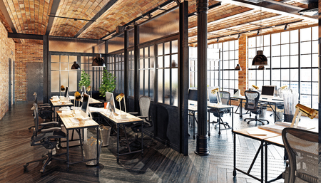 Photo pour modern office interior design. Loft concept 3d rendering - image libre de droit