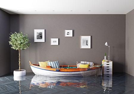 Foto de the boat as a sofa in flooding interior. Creative concept. 3d rendering - Imagen libre de derechos