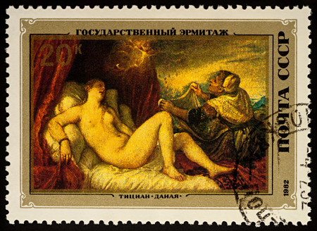 Foto de Moscow, Russia - August 23, 2017: A stamp printed in USSR (Russia), shows painting Danae by Titian (1488-1576), series Italian Paintings in Hermitage Museum, circa 1982 - Imagen libre de derechos