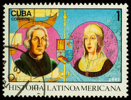 Foto de Moscow, Russia - November 15, 2017: A stamp printed in Cuba shows portraits of Columbus and Queen Isabella of Spain, series Latin american history, circa 1992 - Imagen libre de derechos