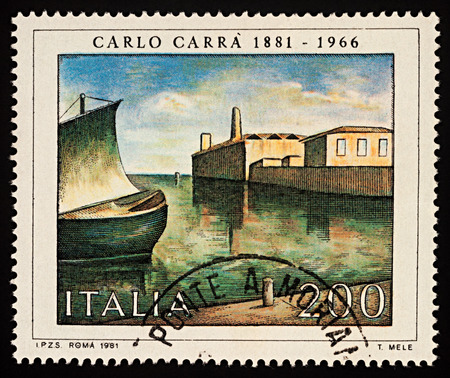 Foto de Moscow, Russia - December 03, 2017: A stamp printed in Italy shows picture of harbor in early morning by Carlo Carra (1881-1966), series Italian Artists, circa 1981 - Imagen libre de derechos