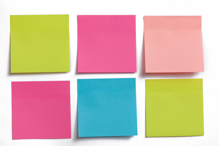 Photo for collection of colorful post it paper note on white background - Royalty Free Image