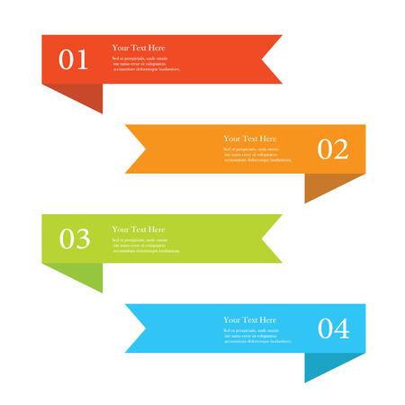 Illustration pour Set of colorful ribbon number options banners - image libre de droit