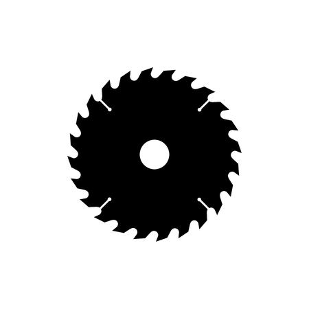 Illustration pour Circular saw blade icon. Black, minimalist icon isolated on white background. Saw blade simple silhouette. Web site page and mobile app design vector element. - image libre de droit