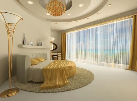 The round bed in a luxurious interior with a large window. Round ceiling construction with the semicircular  wall. Hotel. Modern Apartment. Golden decorative