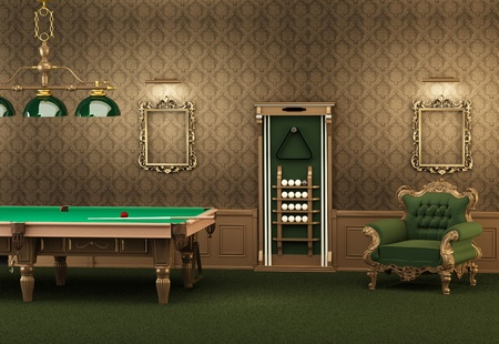 billiards. pool table and furniture in luxurious interior. Empty frames on the wall and armchair in modern room