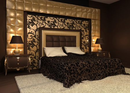 Romantic interior. Double bed in golden luxurious interior. Hotel apartment