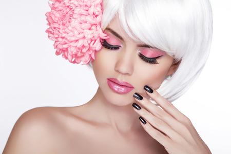 Photo pour Beauty Blond Female Portrait with lilac flower Isolated on white background - image libre de droit