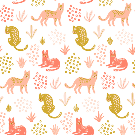 Cute seamless pattern with Leopards, tropical leaves and shapes. Hand drawn wallpaper. Vector design template. Good for print, fabric, wrapping paper , childish apparel etc.