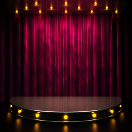 Photo for red curtain stage with lights - Royalty Free Image