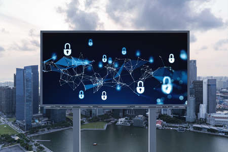Padlock icon hologram on road billboard over panorama city view of Singapore at sunset to protect business, Southeast Asia. The concept of information security shields.