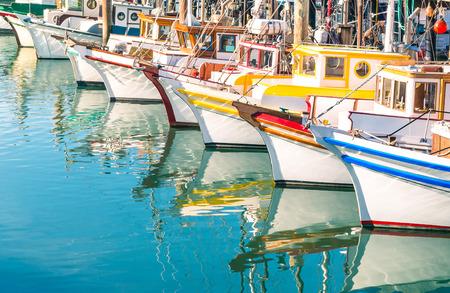 Photo for Colorful sailing boats at Fishermans Wharf of San Francisco Bay - California - United States - Royalty Free Image