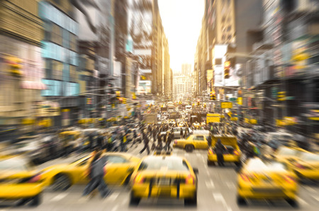 Foto für Rush hour with yellow taxi cabs and melting pot people on 7th av. in Manhattan downtown before sunset - Bright blurred defocused postcard of New York City and his crowded traffic jam - Lizenzfreies Bild