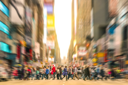 Foto de Melting pot people walking on zebra crossing and traffic jam on 7th avenue in Manhattan before sunset - Crowded streets of New York City during rush hour in urban business area - Imagen libre de derechos
