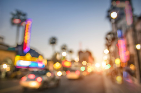 Foto de Defocused blur of Hollywood Boulevard at sunset  Bokeh abstract view of world famous Walk of Fame in California  United staes of America wonders  Emotional saturated filter with powered sunshine - Imagen libre de derechos