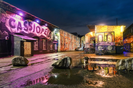 Photo for BERLIN, GERMANY - OCTOBER 21, 2015: street art graffiti on the wall of Cassiopeia club in the urban area of Friedrichshain in the former east part of german capital where most of pub crawls are based - Royalty Free Image