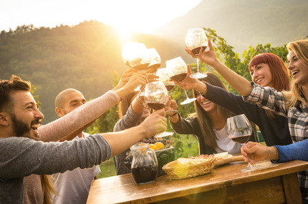 Photo pour Happy friends having fun outdoors - Young people enjoying harvest time together at farmhouse vineyard countryside - Youth and friendship concept - Focus on hands toasting wine glasses with sun flare - image libre de droit