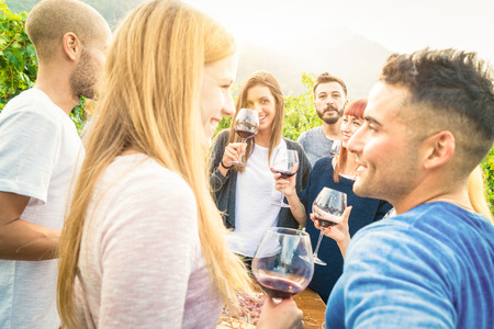 Photo pour Happy friends having fun and drinking wine - Friendship concept with young people enjoying harvest time together at farmhouse vineyard countryside - Bright desat  filter with focus on background faces - image libre de droit