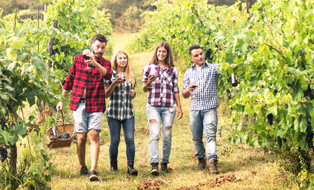 Photo for Young friends having fun walking at winery vineyard outdoors - Friendship concept with happy people enjoying harvest together at farm house - Red wine bio production experience - Warm vivid filter - Royalty Free Image