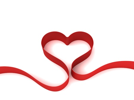 Photo for Heart from red ribbon - Royalty Free Image