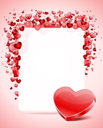 Heart with card frame Valentine day vector background