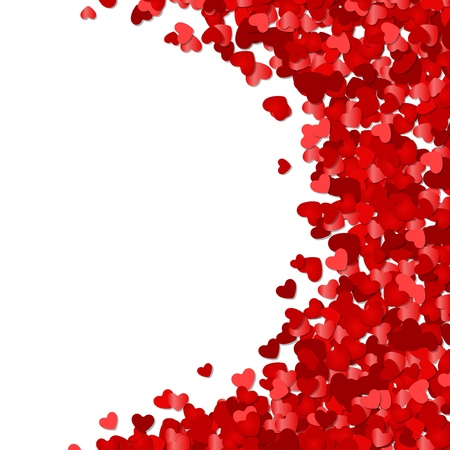 Red hearts confetti Valentine day or Wedding vector background
