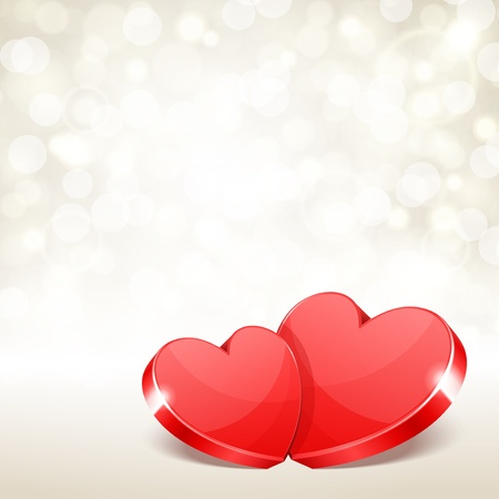 Valentine day vector background two hearts with light