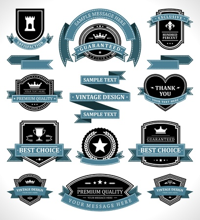 Vintage labels and ribbon retro style set vector design elements