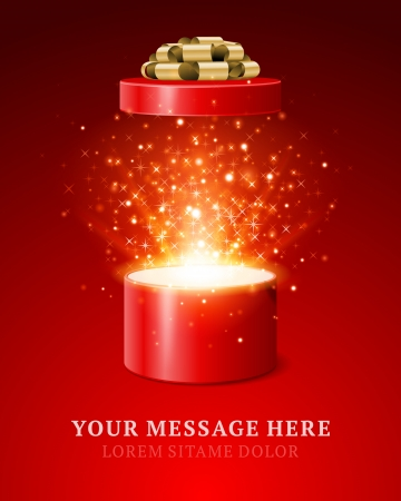 Illustration pour Open gift and light fireworks christmas vector background  Merry Christmas and Happy New Year or Happy Birthday illustration   - image libre de droit