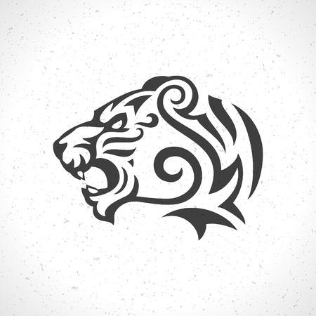 Tiger face icon emblem template mascot symbol for business or shirt design. Vector Vintage Design Element.