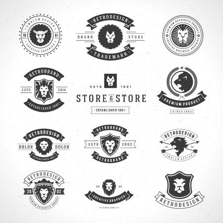 Illustration pour Vintage Lion icon set mascot emblem symbol. Can be used for shirts print, labels, badges, stickers vector illustration. - image libre de droit