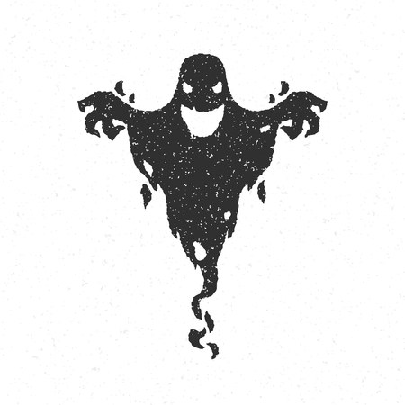Illustration for Halloween scary ghost isolated on white vector illustration - Royalty Free Image