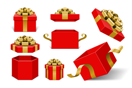 Illustration pour Red Gift Boxes and with golden bow and ribbon vector design elements set isolated on white background. - image libre de droit