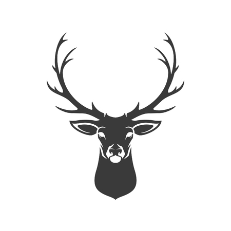 Illustration pour Deer Head Silhouette Isolated On White Background Vector object for Labels, Badges,      other Design. - image libre de droit