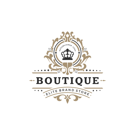 Illustration for Luxury logo template vector object for logotype or badge Design. Trendy vintage royal style illustration, good for fashion boutique, alcohol or hotel brand. - Royalty Free Image