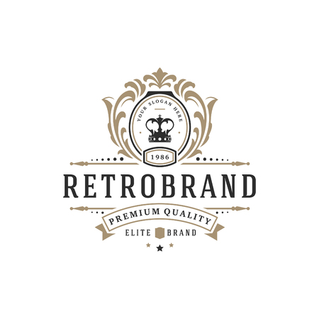 Ilustración de Luxury logo template vector object for logotype or badge Design. Trendy vintage royal style illustration, good for fashion boutique, alcohol or hotel brand. - Imagen libre de derechos