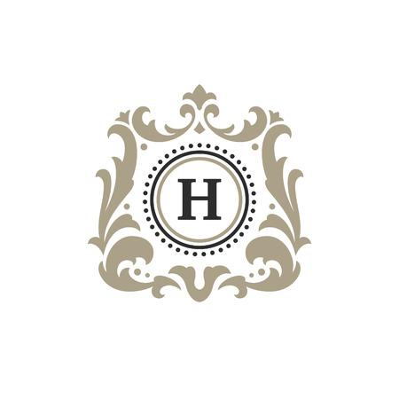 Ilustración de Luxury monogram logo template vector object for logotype or badge Design. Trendy vintage royal ornament frame illustration, good for fashion boutique, alcohol or hotel brand. - Imagen libre de derechos