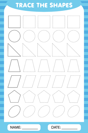 Ilustración de learning for children, drawing tasks. trace the geometric shapes around the contour. - Imagen libre de derechos