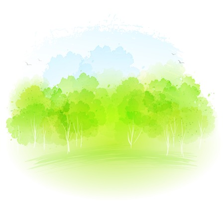 Illustration pour Vector watercolor frash spring landscape EPS 10 - image libre de droit