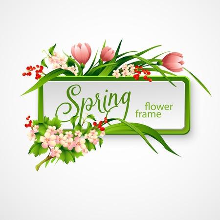 Illustration pour Spring frame with flowers. Vector illustration EPS 10 - image libre de droit