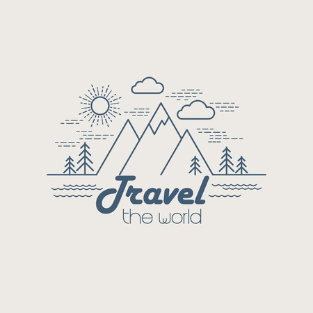 Illustration pour Flat linear landscape. Travel logo concept. EPS 10 - image libre de droit