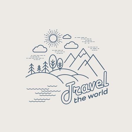 Illustration pour Flat linear landscape. Travel logo concept. EPS 10 - image libre de droit